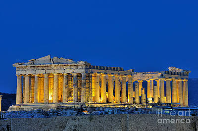 Parthenon In Acropolis Of Athens During Dusk Time Poster