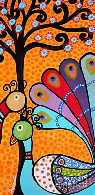 2 Peacocks And Tree Poster by Pristine Cartera Turkus