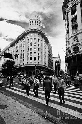 people crossing calle florida Edificio Bencich and south end of florida street downtown Buenos Aires Poster