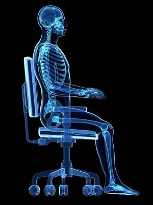 Person Sitting With Incorrect Posture Poster by Sebastian Kaulitzki