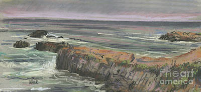 Poster featuring the painting Pescadero Beach by Donald Maier