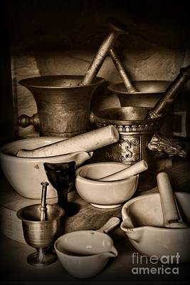 Pharmacy - Mortars And Pestles - Black And White Poster by Paul Ward
