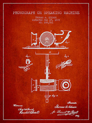 Phonograph Or Speaking Machine Patent Drawing From 1878 Poster
