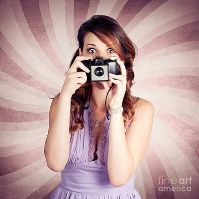 Pin-up Photographer Girl Taking Surprise Photo Poster by Jorgo Photography - Wall Art Gallery