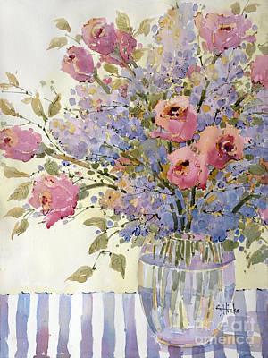 Pink Roses And Lilacs Poster by Joyce Hicks