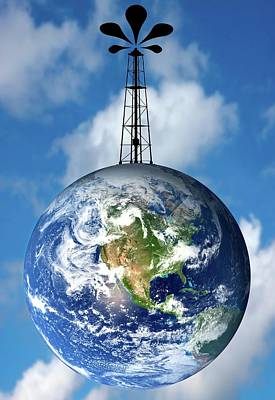 Planet Earth With An Oil Well Poster