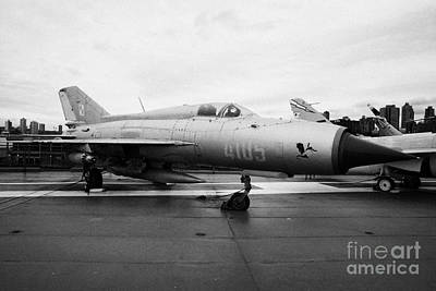 Polish Air Force Mig 21 Pfm On Display On The Flight Deck At The Intrepid Sea Air Space Museum Poster by Joe Fox
