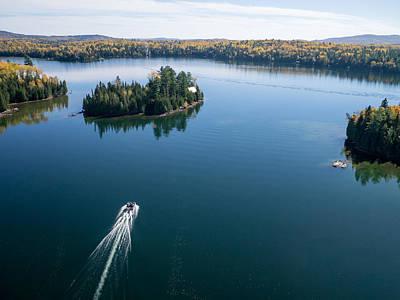Pontoon Boat On Big Cedar Lake Poster