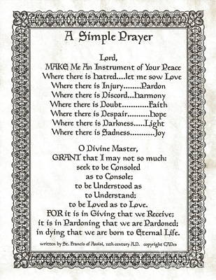 Pope Francis St. Francis Simple Prayer On Parchment Poster