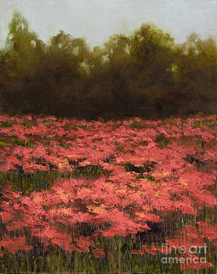 Poppy Field With Gold Leaf By Vic Mastis Poster