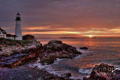 Poster featuring the photograph Portland Head Lighthouse Sunrise by Alana Ranney