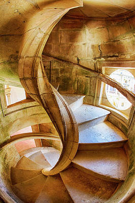 Portugal, Tomar, Spiral Stone Staircase Poster