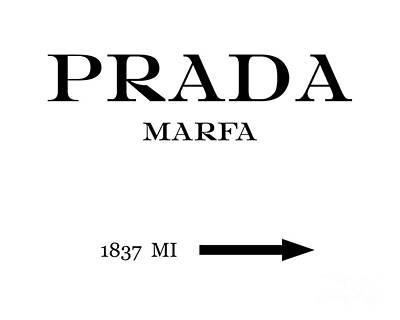 Prada Marfa Mileage Distance Poster