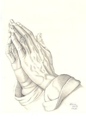 Poster featuring the drawing Praying Hands by Patricia Hiltz