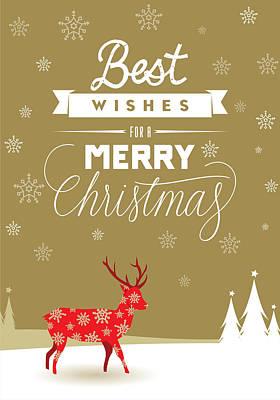 Red Deer Christmas Poster