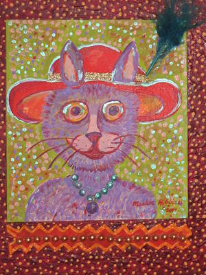 Red Hat Cat Poster by Marlene Robbins