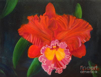 Poster featuring the painting Red Orchid by Jenny Lee