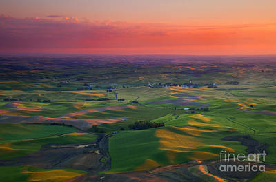 Red Skies Over The Palouse Poster by Mike  Dawson