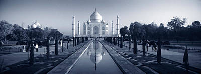Reflection Of A Mausoleum On Water, Taj Poster by Panoramic Images