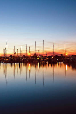 Rockport, Texas Harbor At Sunset Poster by Larry Ditto