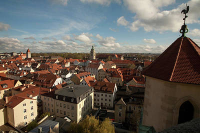 Roof Top View Of Old Town Regensburg Poster by Dave Bartruff