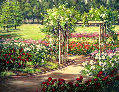 Rose Garden Arbor Poster by Vickie Fears