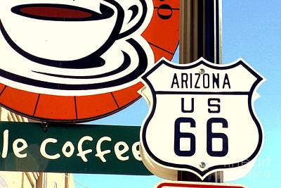 Poster featuring the digital art Route 66 Coffee by Valerie Reeves