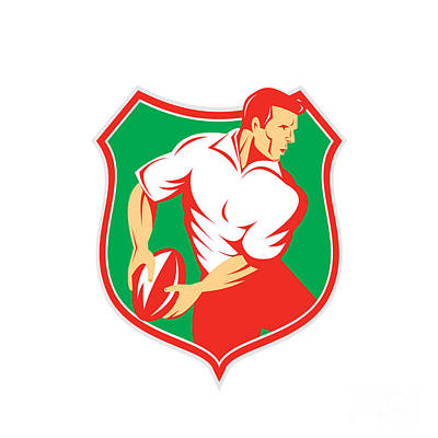 Rugby Player Passing Ball Shield Retro Poster