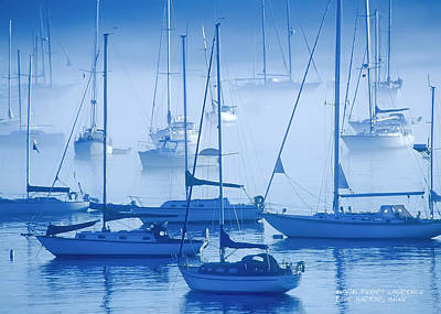 Sailboats In The Fog - Maine Poster by David Perry Lawrence