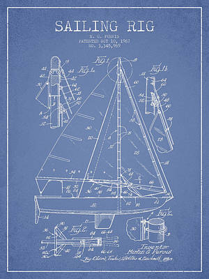 Sailing Rig Patent Drawing From 1967 Poster by Aged Pixel