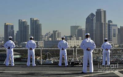 Sailors Man The Rails Aboard Poster by Stocktrek Images
