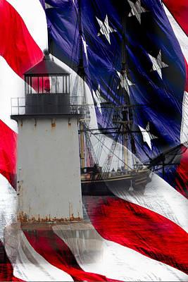 Salem's Friendship Sails Past Fort Pickering Lighthouse Poster by Jeff Folger