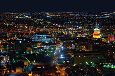 San Antonio Texas City Night  Aerial Poster by Jodi Jacobson