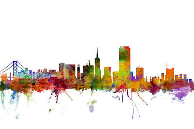 San Francisco City Skyline Poster by Michael Tompsett