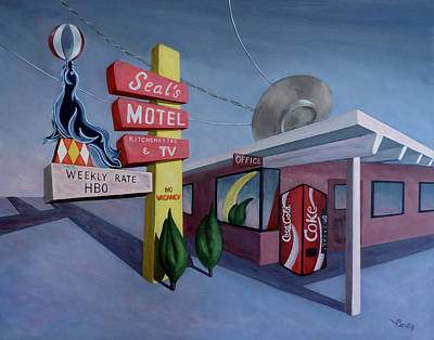 Poster featuring the painting Seal's Motel by Sally Banfill