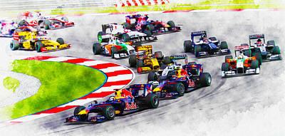 Sebastian Vettel Leads The Pack Poster