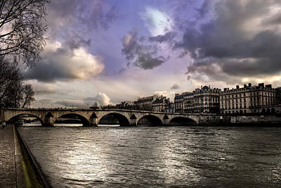 Sena River In Paris After Storm Poster