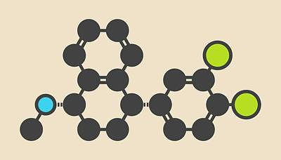 Sertraline Antidepressant Drug Molecule Poster