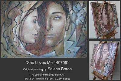 Poster featuring the painting She Loves Me 140709 by Selena Boron