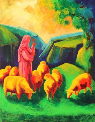 Sheep And Shepherd Painting Bertram Poole Poster
