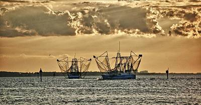 2 Shrimper Going To Sea Poster by Michael Thomas