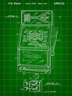 Slot Machine Patent 1978 - Green Poster by Stephen Younts