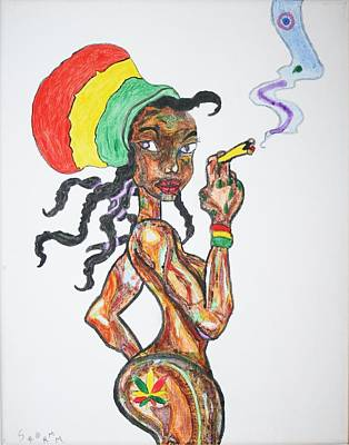 Poster featuring the painting Smoking Rasta Girl by Stormm Bradshaw