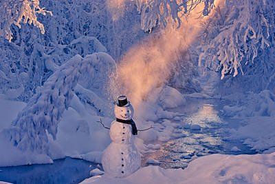 Snowman Standing Next To A Stream Poster by Kevin Smith