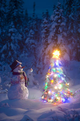 Snowman Stands In A Snowcovered Spruce Poster by Kevin Smith