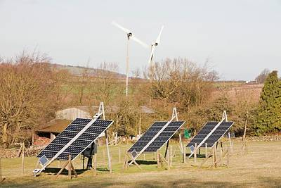 Solar Panels And Wind Turbines Poster