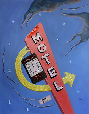 Poster featuring the painting South City Motel by Sally Banfill
