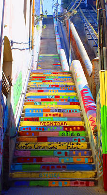 Stairway To Heaven Valparaiso  Chile Poster by Kurt Van Wagner