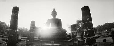 Statue Of Buddha At Sunset, Sukhothai Poster by Panoramic Images