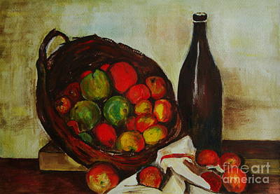 Still Life With Apples After Cezanne - Painting Poster by Veronica Rickard
